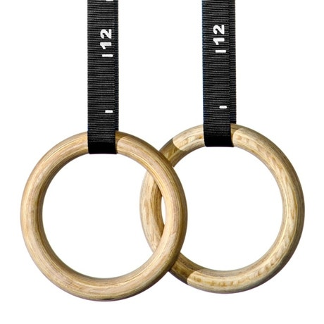 """1.25""""(32mm) Wooden Gymnastic Rings & Indexed Straps   Fitness Depot"""